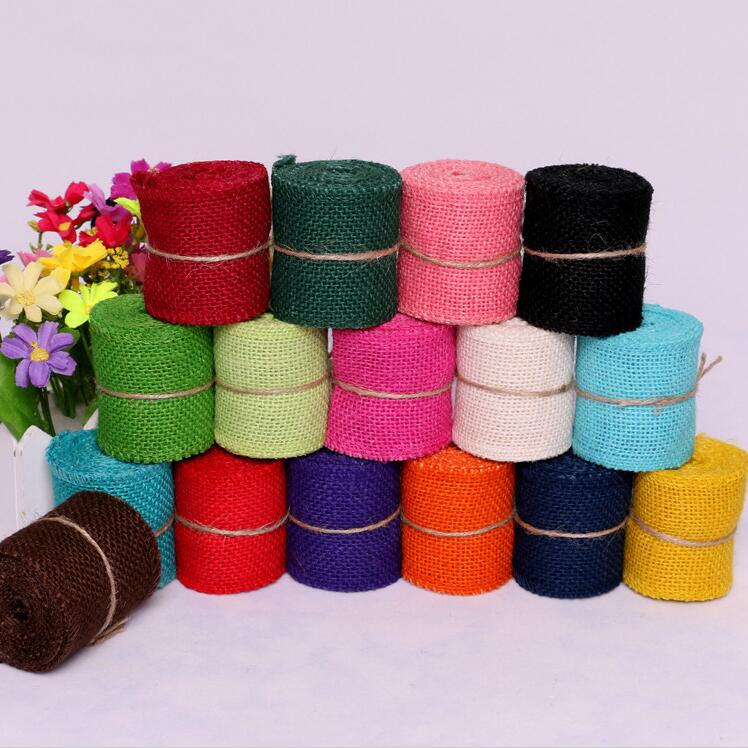 Cheap 2M width 6cm Colorful Natural Jute Burlap Ribbon Jute Fabric Roll Hessian Ribbon Trims Tape Rustic DIY Wedding Par AA8043