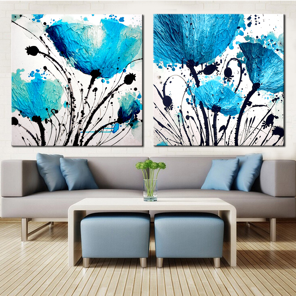 2 Piece canvas painting Blue Flower abstract canvas poster ...