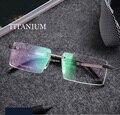 Óculos de titânio óculos sem aro de metal masculino homens moda grife óculos de armação prescrição lunette de vue