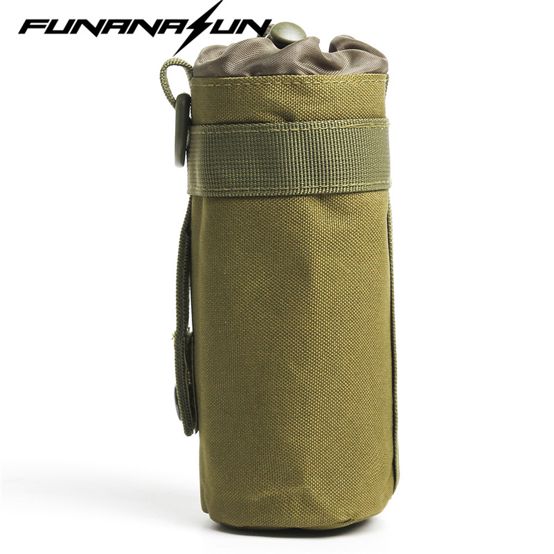 все цены на 600D Tactical MOLLE Top Open Water Bottle Pouch Army Kettle Pouch Camping Accessory Airsoft Hunting Water Bag Holster