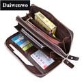 M15 Brand Genuine Leather Men Clutch Wallet Vintage Double Zipper Large Capacity Natural Skin Handbag For Male Phone Money Bag