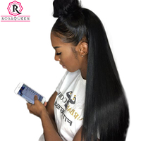 Straight Lace Front Human Hair Wigs For Women 250% Density Brazilian 13x4 Lace Closure Wig Pre Plucked Black Rosa Queen Remy