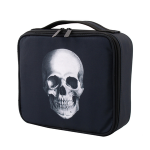Image 2 - Deanfun étui de maquillage crâne Portable sac cosmétique noir cas de Train avec diviseurs réglables organisateur de voyage 16002