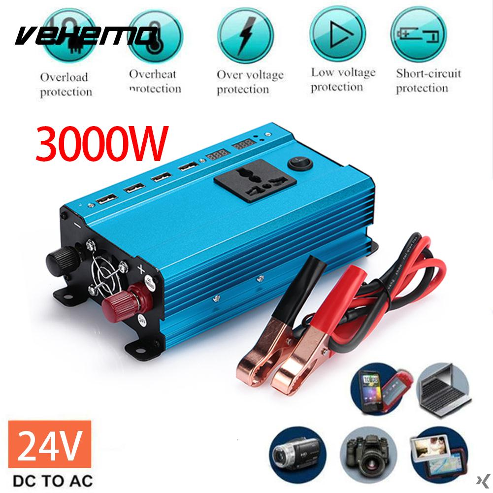 Car Converter 3000W Peak DC 12V to AC 220V Power Inverter Charger Converter Transformer Vehicle Pure Sine Wave Auto Adapter 1500w dc 12v 24v to ac 220v car inverter with usb port power converter inverter peak power 3000w auto charger adapter