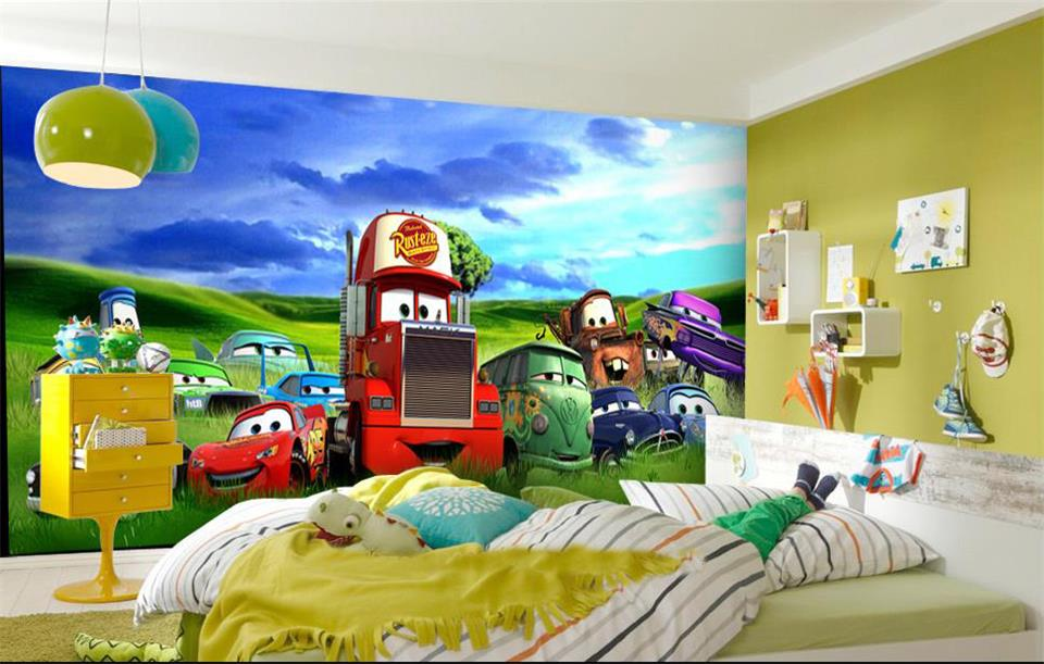 Custom kids room photo mural 3d car wallpapers cartoon for Car wallpaper mural