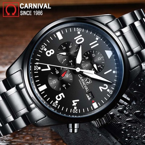 Carnival Sport Pilot Automatic Watch Men Mechanical Watches Mens Luminous Waterproof Military Clock Multifunction montre homme Islamabad