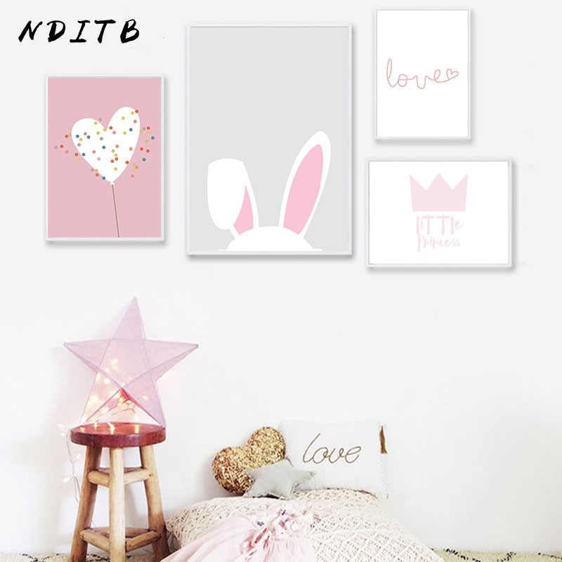 NDITB Pink Rabbit Cartoon Canvas Art Poster Nursery Print Minimalist Canvas Painting Wall Picture Nordic Kids Bedroom Decoration