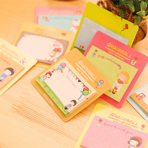 4 pcs /lot cute girl 30 sheets memo pad paper sticky notes post it notepad kawaii stationery papeleria school supplies