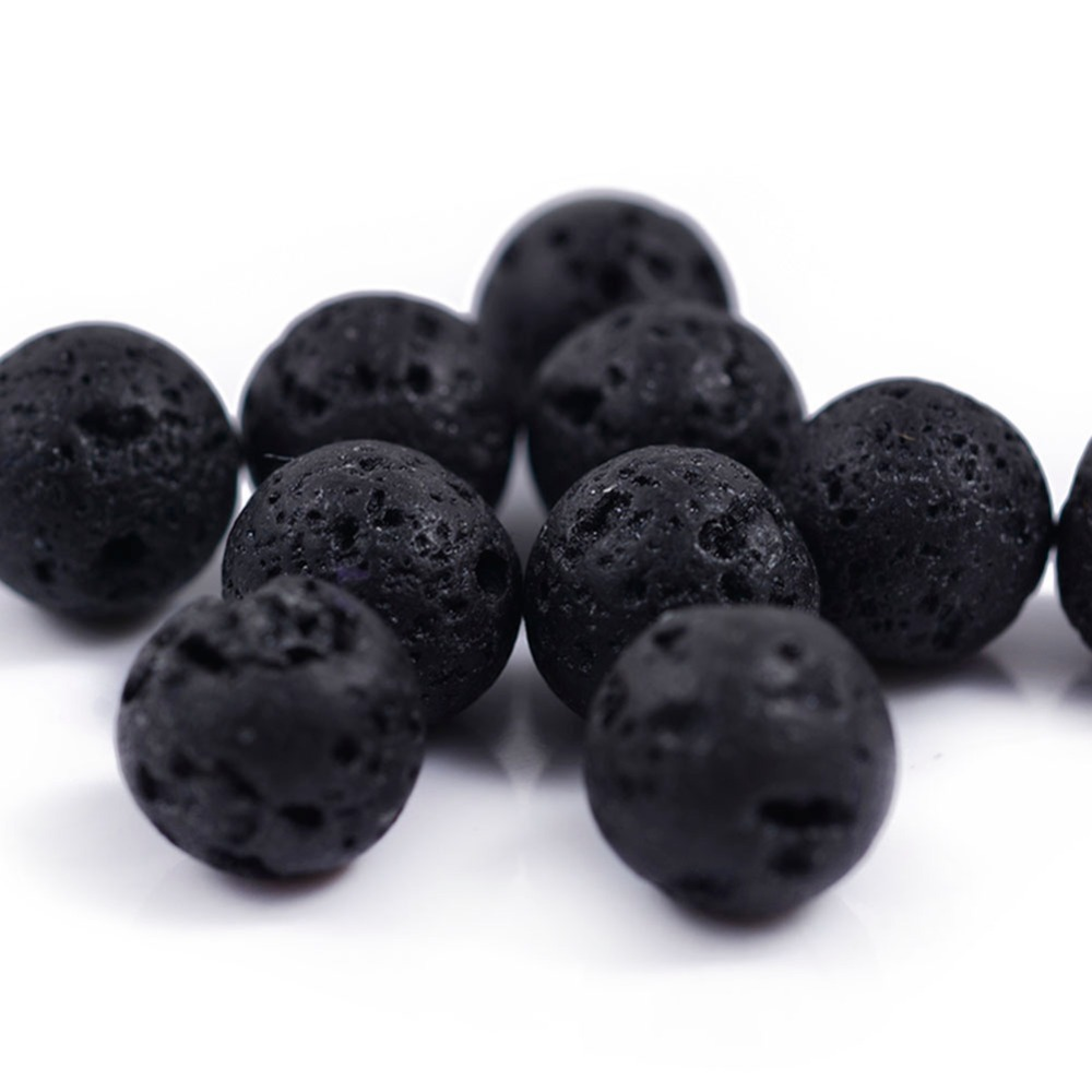 1 Pack Muti size Natural Round Black Rock Volcanic Lava Stone Beads For Bracelets Essential Oil Diffuser Necklace Lockets in Beads from Jewelry Accessories