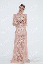 Heißer Verkauf Elegante A-Line Abendkleider 2015 Rosa Spitze Langarm-formale Abend Party Kleid Perlen Lange Vestido de Festa