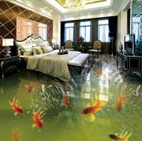 Children's room 3d flooring Photo Wallpaper Fish school Living Room PVC Waterproof Customize 3d floor painting