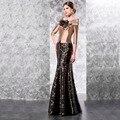 Modest Mermaid negro encaje vestidos noche 2016 con el oro 3/4 mangas de la chaqueta Bolero madre de la novia vestido de fiesta vestidos VE37