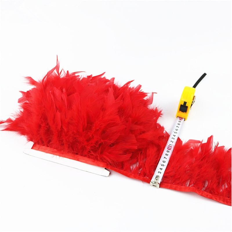 Nuevo 10 metros de plumas de pavo bellas y esponjosas franja de cinta - Artes, artesanía y costura - foto 5