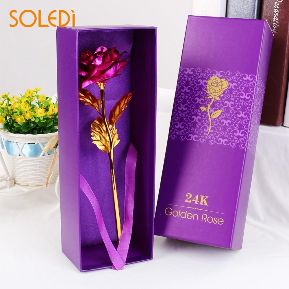 Soledi 24k Golden Rose Flower With Box Wedding Festive Party