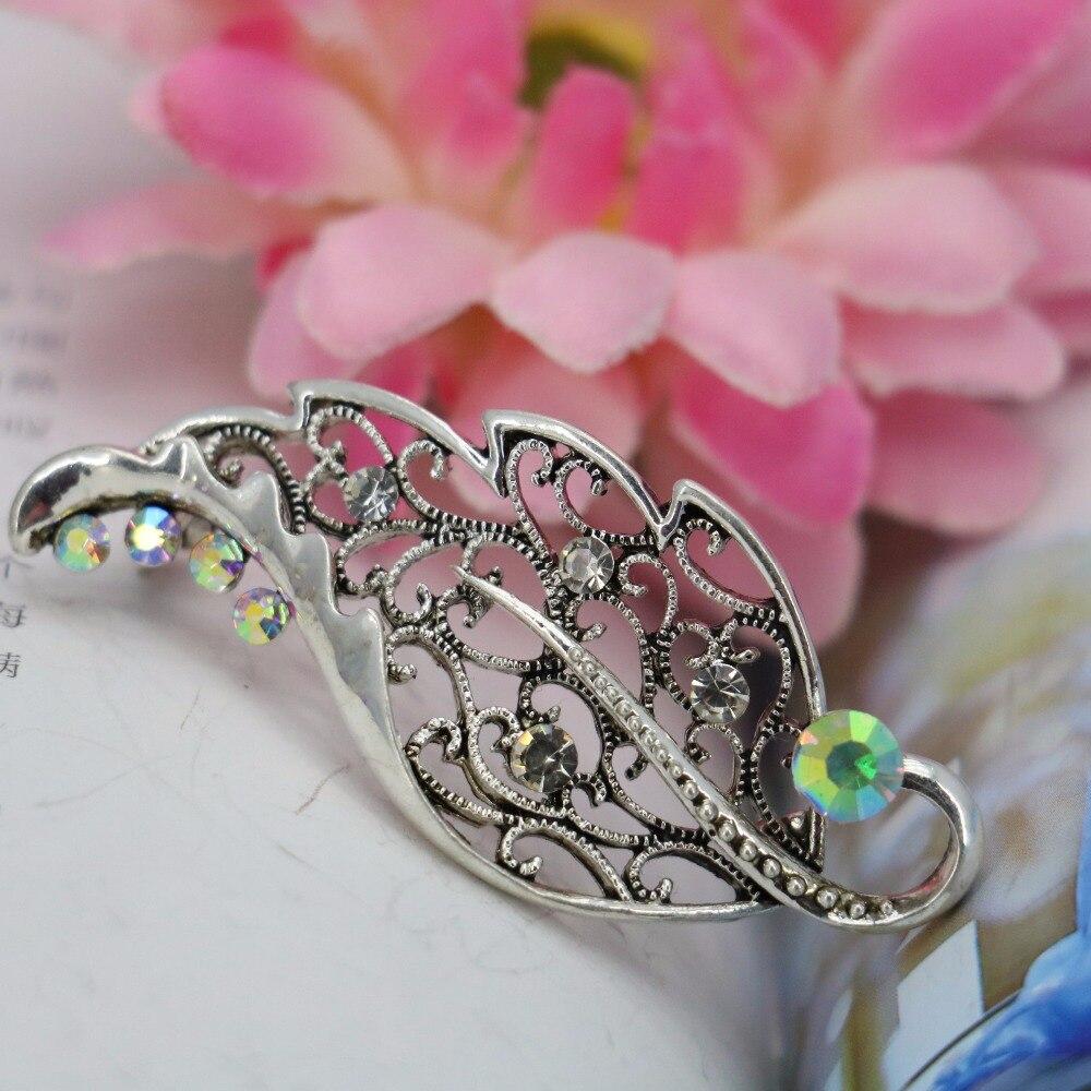 ᗐGlisten hoja rhinestone broche breastpin Broches cristal elegante ...