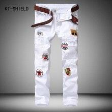 Men Creative Fashion Patchwork Badge Jeans Mens Denim Ripped Jeans Pants White Washed Vintage Brand Slim Jeans Design Long Pants
