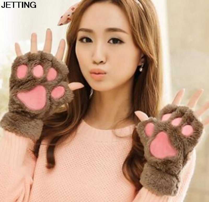 Winter Women Gloves Fluffy Bear/Cat Plush Paw/Claw Glove-Novelty Halloween Soft Toweling Lady's Half Covered Gloves Mittens