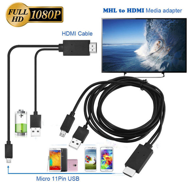 ミニ 1080 1080p mhlマイクロusb hdmiケーブル変換アダプタandroidの電話/pc/tvオーディオアダプタhdtvアダプタ