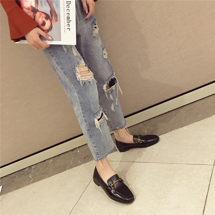 Fashion shoes for women 2018 new soft bottom British shoes woman square head single shoes female thick with flat shoes loafers 67