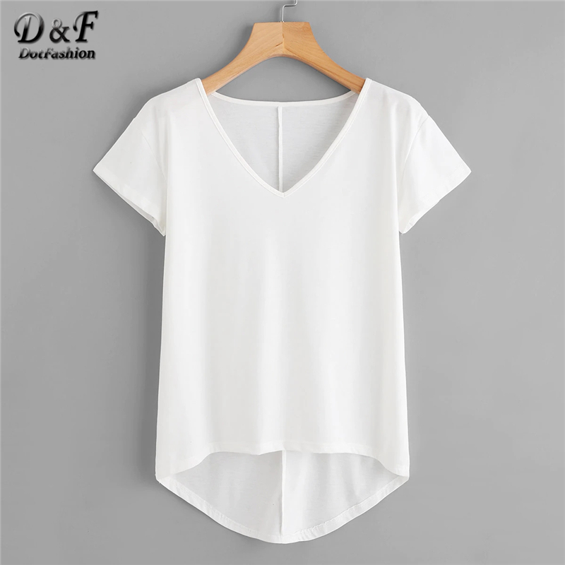 Dotfashion White Solid Dip Hem   T  -  Shirt   Women 2019 Casual Tops Tee Summer V Neck Short Sleeve Korean Fashion Clothes   T     Shirt