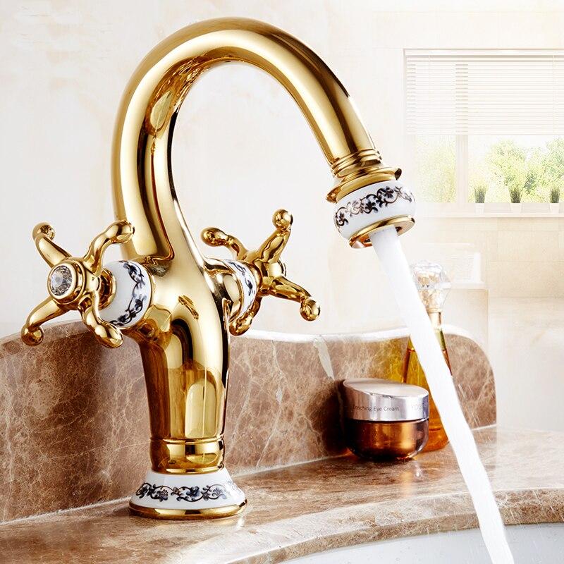 Antique cuivre cuisine évier robinet plaqué or, laiton salle de bain bassin robinet chaud et froid, rétro double support bassin robinet vintage