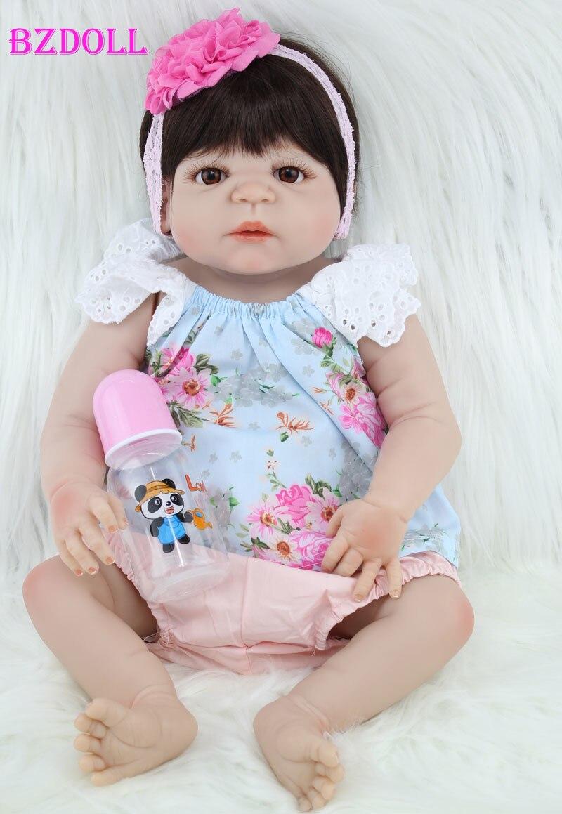 """BZDOLL 55 centimetri Pieno di Silicone Reborn Baby Girl Doll Giocattoli 22 """"Lifelike Neonato Principessa Bambini Bambola Regalo Di Compleanno Regalo di Fare Il Bagno giocattolo-in Bambole da Giocattoli e hobby su  Gruppo 1"""