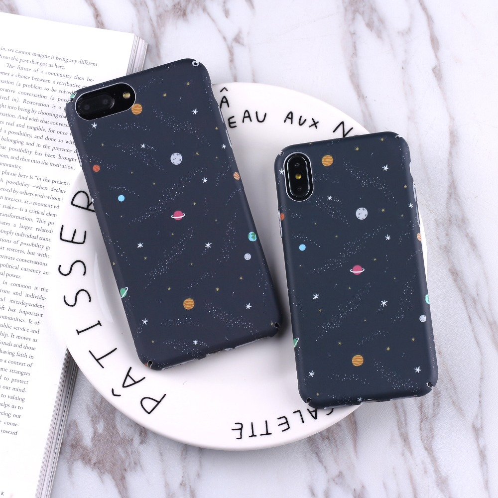 Learned Oloey Cartoon Airship Astronaut Stars Moon Case For Iphone 8 8plus Case Over Hard Pc Phone Cases For Iphone7 7 Plus Capa Harmonious Colors Half-wrapped Case