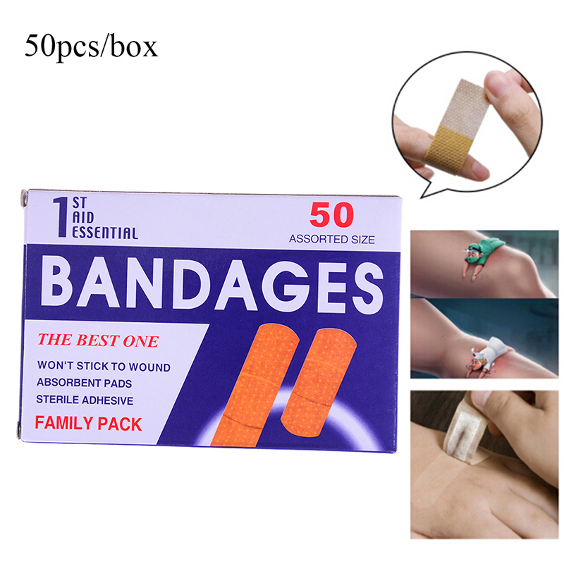 50pcs/box Band-aid Adhesive Waterproof Hemostatic Medical Band-aid With A Sterile Gauze Pad For Stop Bleeding Baby Care