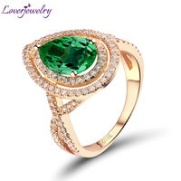 NEW! Pear Cut 7x9mm In 14kt Yellow Gold Natural Diamond Colombia Emerald Engagement Ring Good Gem for Women SR0007