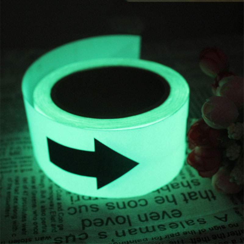 5M*50mm Glow Luminous Tapes Arrow Warning Stripes Night Lighting Emergency Lines Fluorescent Anti-collision Strip Sticker B