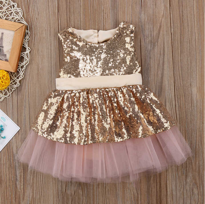 Kids Baby Girl Sequins Back Big Bowknot Dresses Sleeveless Gold Rose Red Princess Party Dress Ball Gown Formal Tutu Tulle Dress