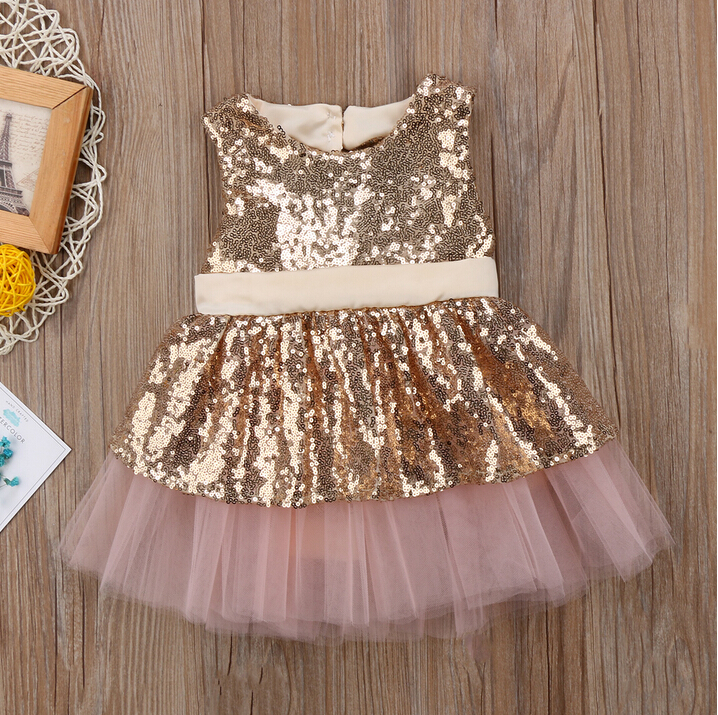 Kids Baby Girl Sequins Back Big Bowknot Dresses Sleeveless Gold Rose Red Princess Party Dress Ball Gown Formal Tutu Tulle Dress 2017 new sequins kids girls lace tulle bowknot tutu dress sleeveless princess girl party dresses children clothes 2 7 years