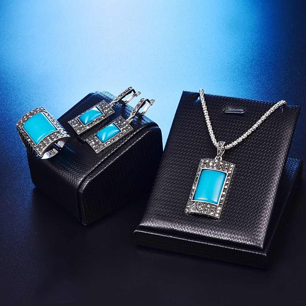 Vintage Classic Ethnic Style Jewelry Sets Fashion Rectangle Resin Stone Turkish Necklace Earrings  Ring Women Jewelry Set 20%