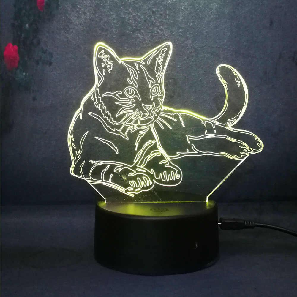 Mèo 3D Đèn Ngủ 7 Màu Thay Đổi Đèn Led Cảm Ứng có Điều Khiển từ xa Quà Tặng Giáng Sinh Gái Trang Trí Phòng Ngủ Chiếu Sáng Bàn đèn