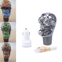 POSSBAY Universal Touch Activated Gaer Shift Knob Colorful Change LED Gear Stick Lever Knobs for Honda Ford Kia Skull Type