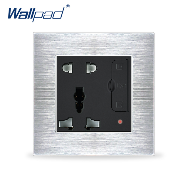 5 Pin Universal Socket With 2 Usb In The Wall Wallpad Luxury Satin Metal Panel USB Wall Outlet