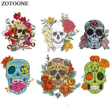 ZOTOONE Fashion Flower Skull Patches For Clothes Iron-on Transfers Punk Patch Stickers Print On T-shirt DIY Heat Transfer Vinyl