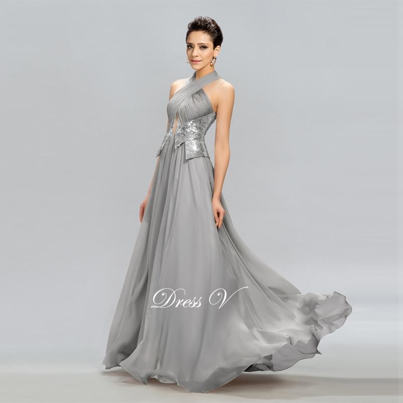 Dressv Hot Sale Långaftonklänning Grå Halter A-Line Pleats - Särskilda tillfällen klänningar - Foto 3