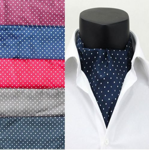 Fashion Polka Dot Men Long Silk Cravat Ascot Ties Handkerchief Gentlemen