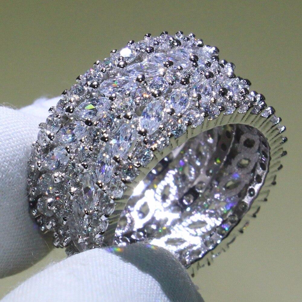 Formato 5-10 Gioielli Di Lusso 925 Sterling Silver 5 Righe 5A Cubic Zirconia Marquise CZ Anelli Amante Ufficio di Nozze band Ring per le Donne