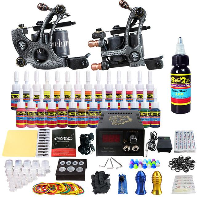 Solong Tattoo Hot Kits Completos de Tatuagem Profissional 2 Bobina Artesanal Metralhadoras poder pé abastecimento pedal Conjunto de tinta TKB07