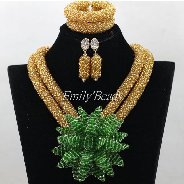 Fashion Women Necklaces Champagne Gold Crystal Costume Jewellry Nigerian Wedding African Beads Jewelry Set Green Flower ALJ099