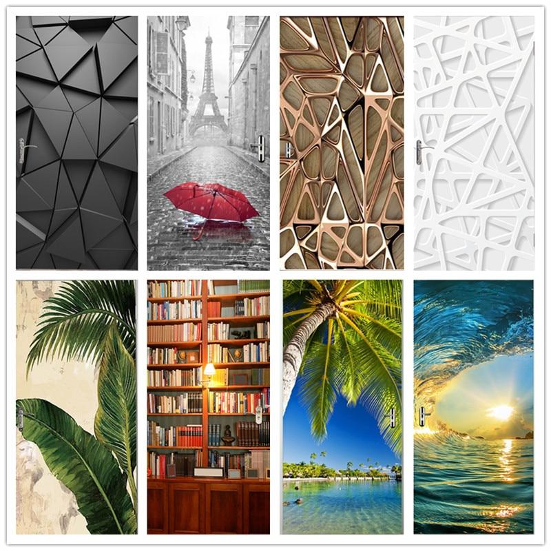 2Pcs/Set Multiple Modern Landscapes 3D Door Sticker PVC Waterproof DIY Self-adhesive Wallpaper Home Design Decor Mural Decals