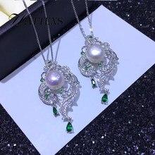 d2a1e25310d8 Collar de perlas de 10-11 MM grande de agua dulce natural con colgante de  Fénix de Plata de Ley 925 para mujeres románticas fies.