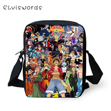 ELVISWORDS Cartoon Women Messenger Bags One Piece Prints Pattern Shoulder Death Notes Handbags Bleach Kids Mini Mochila