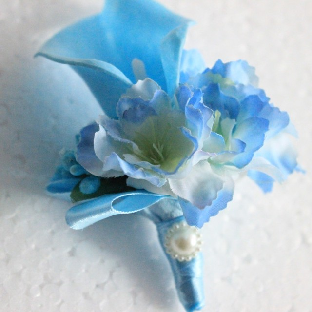 1 Piece Light Blue Calla Flower Corsage Groom Groomsman Wedding Party Man  Boutonniere Prom Pin Brooch Awesome Ideas