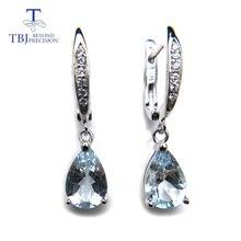 TBJ, натуральный бразильский Аквамарин, висячие серьги из серебра 925 пробы, маленькие милые Простые Ювелирные изделия с драгоценными камнями для девочек в подарочной коробке
