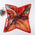 2016 Nuevas Mujeres de La Moda de Seda Cuadrada Bufanda Chal Otoño Marca de Lujo de Diseño de Satén Bufanda de Seda Bufandas Pintura 90*90 cm de La Venta Caliente
