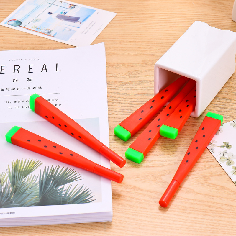 все цены на 1 Pcs Cute Kawaii watermelon Gel Pen Writing Signing Pen School Office Supply Student Stationery Rewarding 0.38mm онлайн