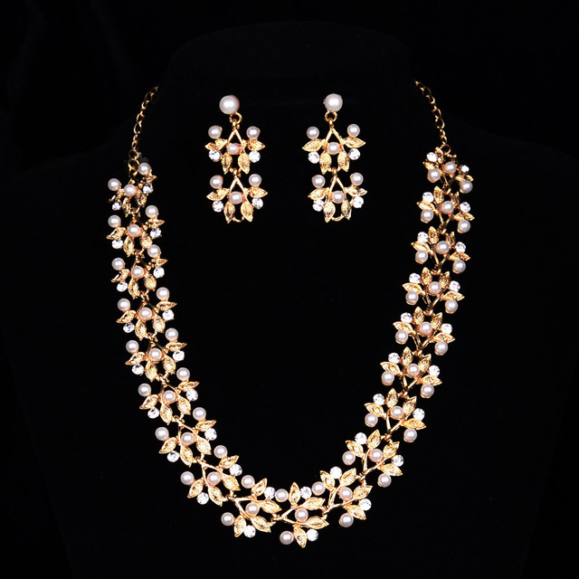 Korea Fashion Gold Plated NecklaceEarring Jewelry Design Pearl